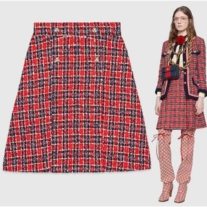 Gucci Enamel Tiger Button Tweed A-Line Skirt